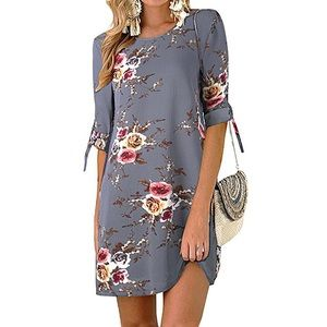Women's Casual Tie Sleeve Floral T-Shirt Dress